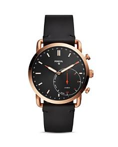 Fossil - Commuter Black Leather Strap Hybrid Smartwatch, 42mm