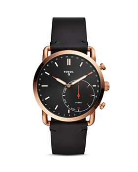 Fossil - Commuter Black Leather Strap Hybrid Smartwatch, 42mm