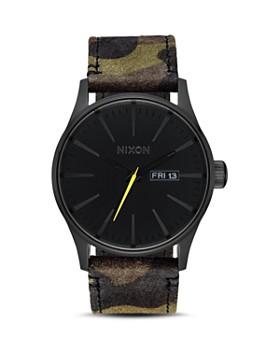 Nixon - Sentry Camo Leather Watch, 42mm