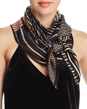 Echo - Striped Patchwork-Print Silk Scarf - 100% Exclusive