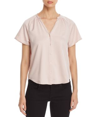 FINN & GRACE Short-Sleeve V-Neck Shirt - 100% Exclusive in Pale Pink