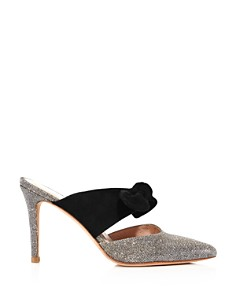 Loeffler Randall - Women's Flora Pointed Toe Suede Bow High-Heel Mules