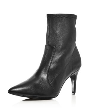 Women'S Pride Pointed Toe Leather Booties in Black Leather