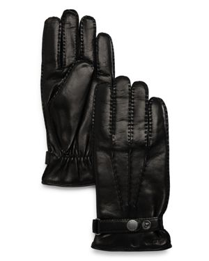 HESTRA Cord Basic Leather Gloves in Black