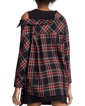 Maje - Lazak Deconstructed Tank-Inset Plaid Top