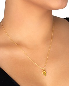 """Dogeared - All Is Well Hamsa Cluster Necklace in 14K Gold-Plated Sterling Silver, 18"""""""