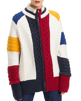 Tommy Jeans - Chunky Cable-Knit Color-Block Cardigan