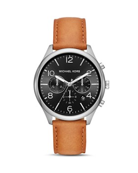 Michael Kors - Merrick Brown Leather Strap Chronograph, 42mm