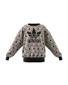 Adidas - Girls' Classic Zebra-Print Velour Sweatshirt - Big Kid