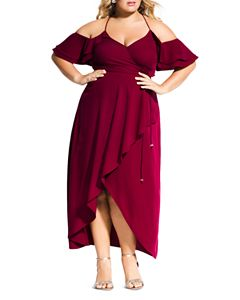 1357972ab9098 City Chic Plus Entwine Ruched Cold-Shoulder Maxi Dress