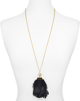 kate spade new york - Crystal & Feather Pendant Necklace, 34""
