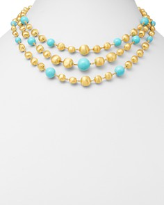 """Marco Bicego - 18K Yellow Gold Africa Turquoise Multi-Strand Station Necklace, 16.5"""""""