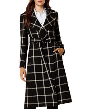 KAREN MILLEN - Windowpane-Plaid Coat