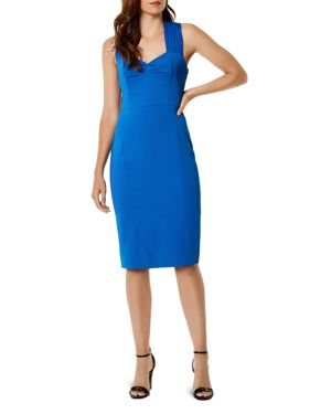 KAREN MILLEN Pleated-Strap Corset Dress in Blue