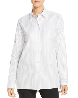 Trinity Stanford Stripe Blouse With Buttoned Sleeves, Black Multi