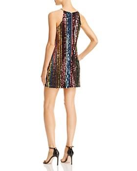 AQUA - Rainbow Sequin Stripe Mini Dress - 100% Exclusive