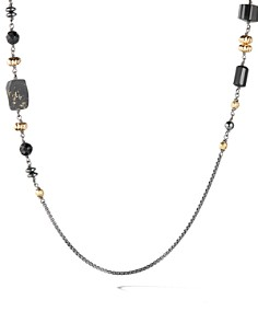 David Yurman - Bijoux Bead & Chain Necklace with 18K Yellow Gold & Black Slate with Pyrite