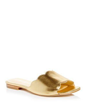 ISA TAPIA Women'S Neva Scalloped Slide Sandals in Light Gold