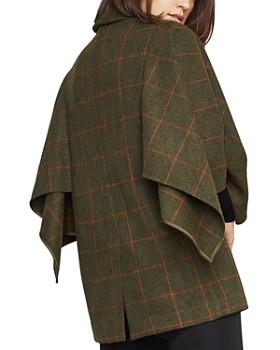 BCBGMAXAZRIA - Windowpane-Plaid Cape-Sleeve Jacket