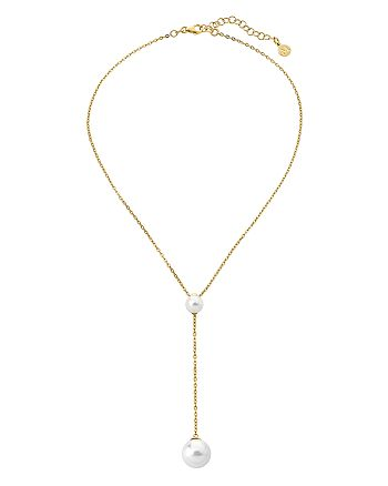 """Majorica - Simulated Cultured Pearl Lariat Necklace in Gold-Plated Sterling Silver, 15"""""""