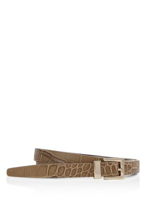 Blossom Croc Embossed Leather Belt by Reiss