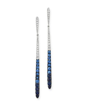 KC Designs - 14K White Gold Diamond & Blue Sapphire Ombre Drop Earrings