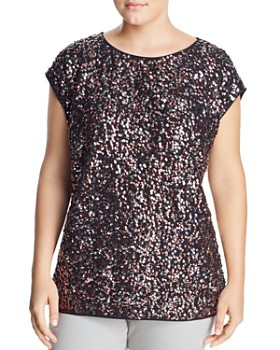 VINCE CAMUTO Plus - Sequined-Front Top