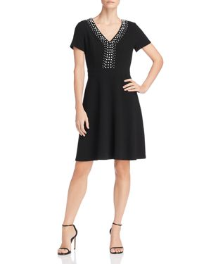 Karl Lagerfeld Paris Embellished Fit-and-Flare Dress
