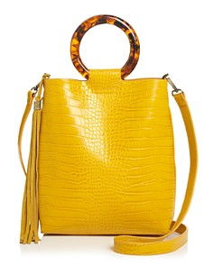 Street Level - Croc-Embossed Tote with Circle Handles