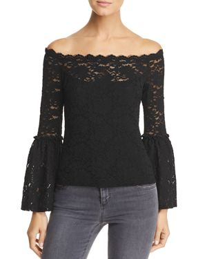 RED HAUTE Lace Off-The-Shoulder Top in Black