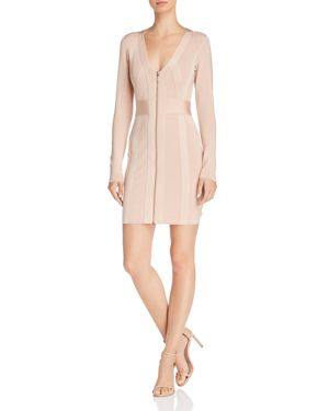 GUESS Mirage Zip-Front Body-Con Dress in Nude Multi