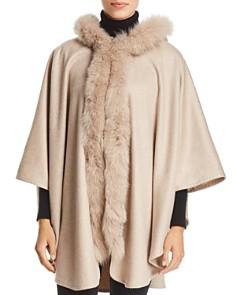 Max Mara - Fox Fur-Trim Hooded Cashmere Ruana