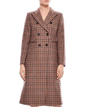 SANDRO Colere Check Wool Blend Coat in Beige