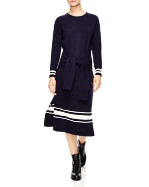 Bryone Stripe Sweater Midi Dress in Blue