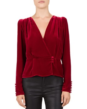 The Kooples - Crossover Ruched Velvet Top