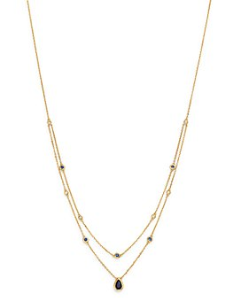 """Bloomingdale's - Blue Sapphire & Diamond Layered Necklace in 18K Yellow Gold, 18"""" - 100% Exclusive"""