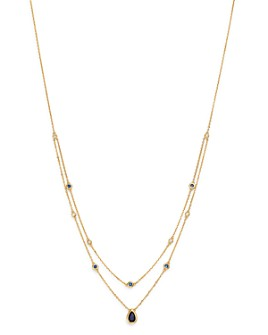 "Bloomingdale's - Blue Sapphire & Diamond Layered Necklace in 18K Yellow Gold, 18"" - 100% Exclusive"