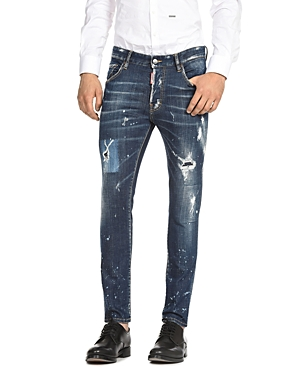 DSQUARED2 Distressed Skater Straight Slim Jeans in Perfection