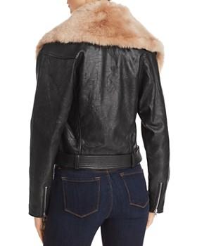 PAIGE - Rizza Faux-Fur-Trimmed Leather Moto Jacket
