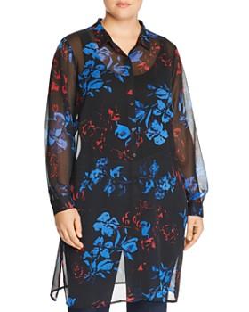 JUNAROSE Plus - Sheer Floral-Print Tunic Top
