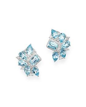 Bloomingdale's - Aquamarine & Diamond Mosaic Earrings in 14K White Gold - 100% Exclusive
