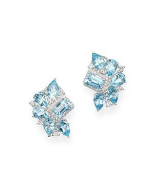 Bloomingdale's Aquamarine & Diamond Mosaic Earrings in 14K White Gold - 100% Exclusive