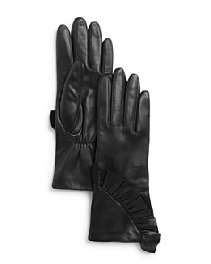 AQUA - Ruffled Leather Tech Gloves - 100% Exclusive