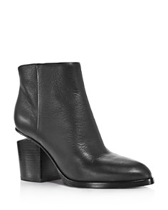 Alexander Wang - Women's Gabi Round Toe Leather Booties - Silver-Tone Hardware