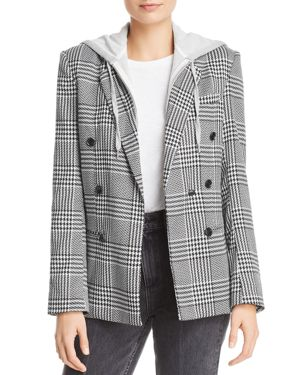 AQUA Layered-Look Houndstooth Blazer - 100% Exclusive in Black/White