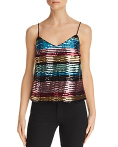 WAYF - Murphy Rainbow-Stripe Sequined Camisole - 100% Exclusive