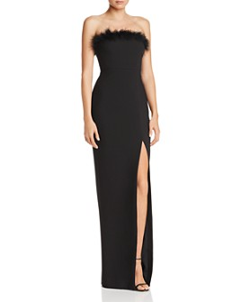 LIKELY - Presley Feather-Trimmed Strapless Gown