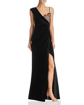 BCBGMAXAZRIA - Asymmetric Velvet Gown