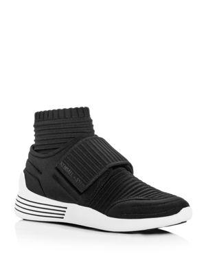 Women'S Brax Ribbed Knit Mid-Top Wedge Sneakers in Black