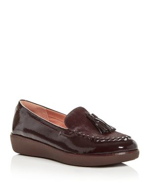Petrina Genuine Calf Hair Loafer in Berry Faux Leather